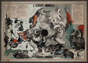 André Belloguet, L'Europe animale : physiologie comique composeé et dessinée sur les contours géographiques de l'Europe par A. Belloguet, Bruxelles, Imp. Vincent, 1882, lithographie, 53,5 x 77 cm; The Special Collections of the University of Amsterdam.