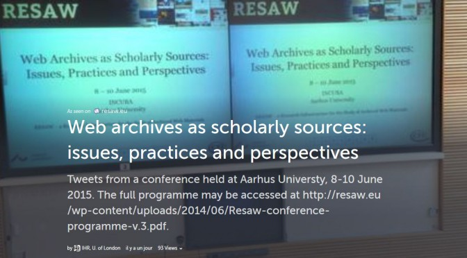See all tweets from the RESAW conference : web archives as scholary sources