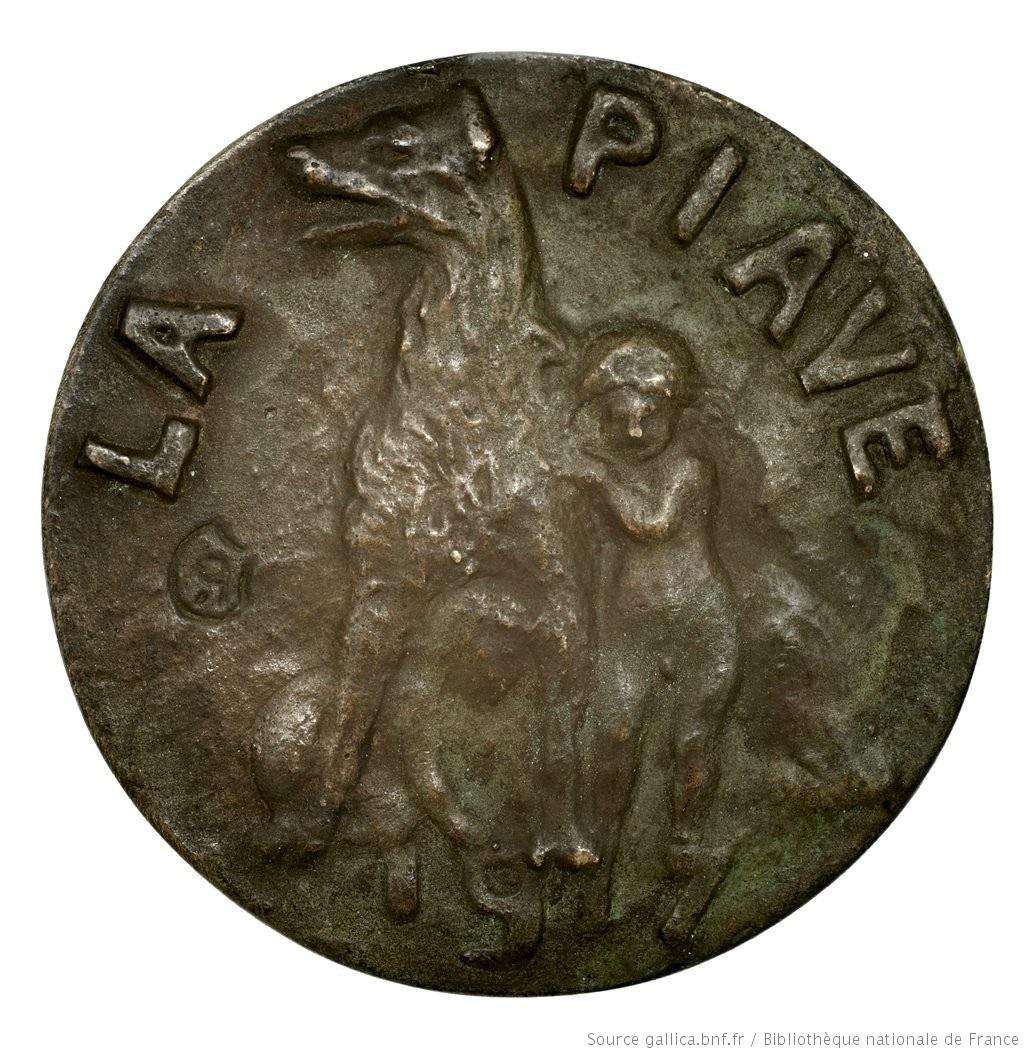 [La Piave] [Objet] : [médaille] / [Pierre Roche] Droit : LA PIAVE 1917. Un chien et deux enfants jouant. Dép. des Monnaies, médailles et antiques. [cote Roche.28]