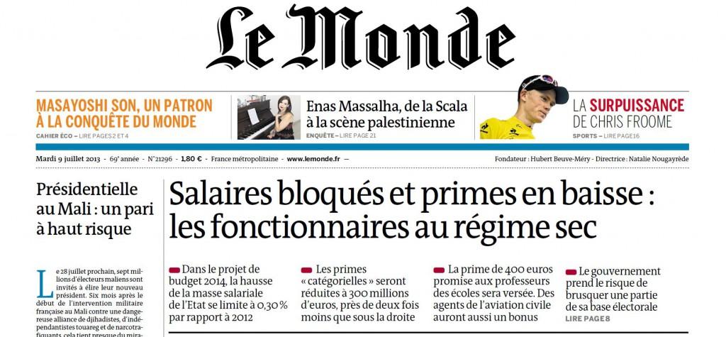 Le Monde le 9 juillet 2013