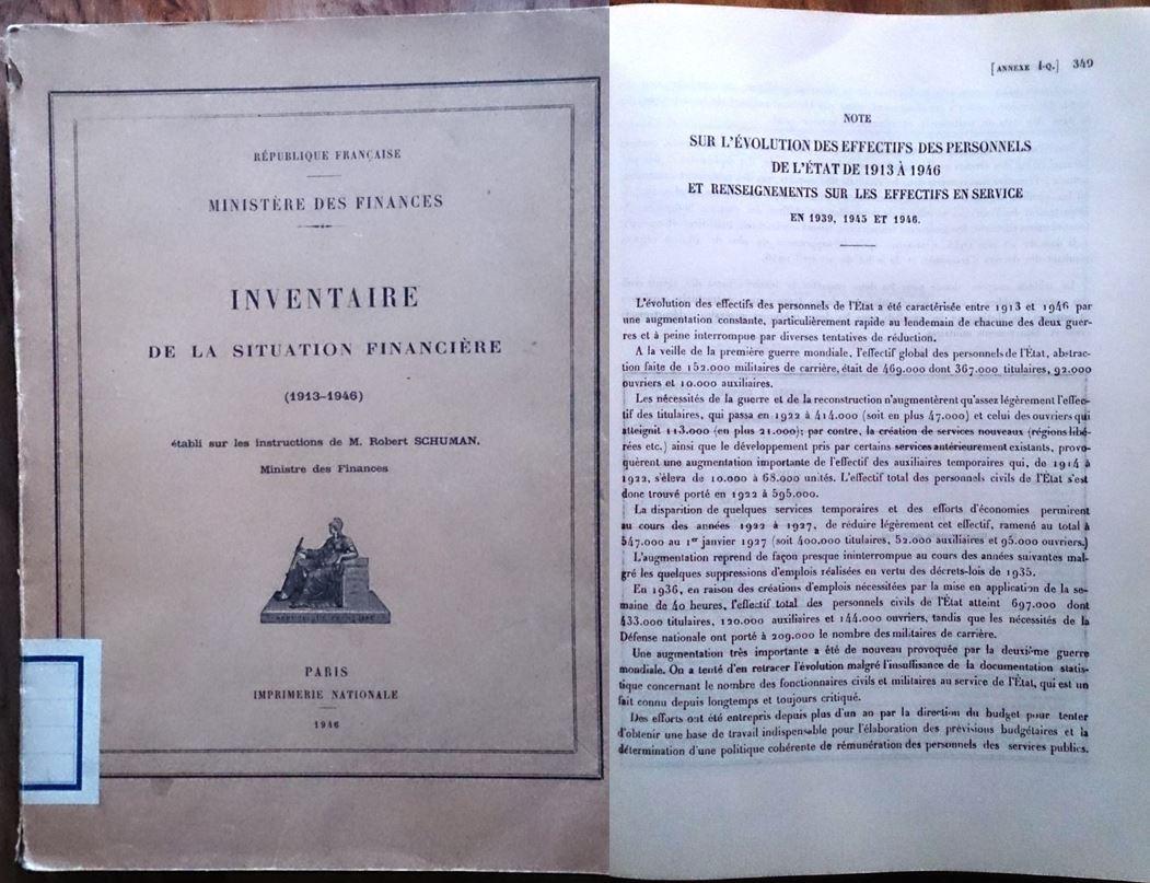 Ministère des Finances, Inventaire de la situation financière (1913-1946), 1946.