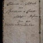 1. Nachweis der Brücknerschen Fabrikschule 1813 auf Schloss Mylau als Besitzvermerk auf Innendeckel eines Schulbuches (s. nachfolg. Bild; Mus. Burg Mylau).