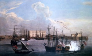 Painting of the East India Company's settlement in Bombay and ships in Bombay Harbour