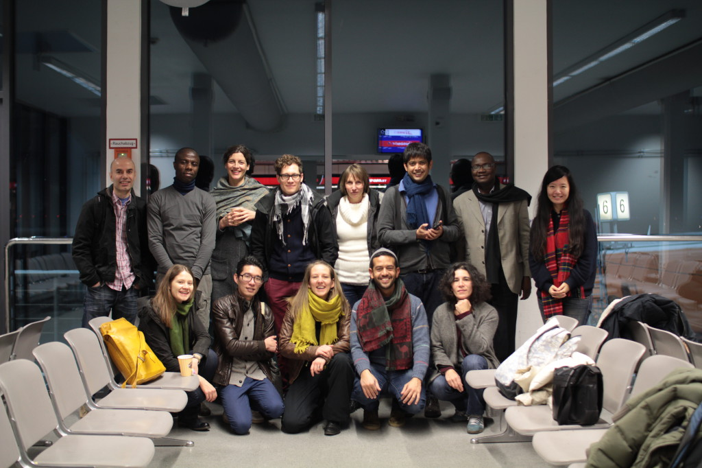 A part of the Art Histories group, in the transition space at Airport Tegel on January 25th, 2014
