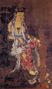 Fig. 1. Water-Moon Avalokiteshvara 1310, color on silk, hanging scroll, 419.5 x 254.2 cm, Kagami Shrine, Karatsu, Japan Photo from Kikutake Jun'ichi and Chŏng U-t'aek, Koryŏ sidae ŭi purhwa (Seoul: Sigongsa, 2000), plate no. 67. **The photo in this book is permitted to use for publication with the consent of the publisher as far as the proper information and credit appears and not for commercial purpose.