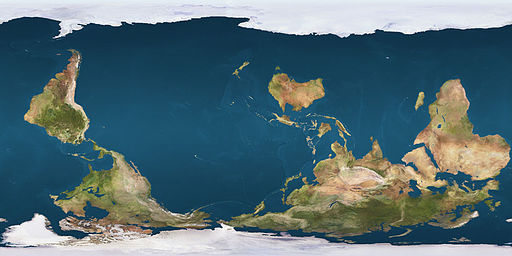 Reversed Earth Map, public domain