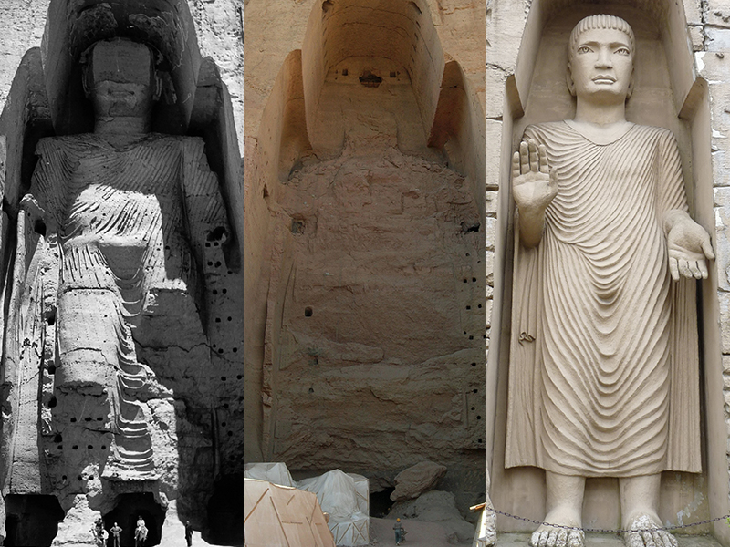 Image credits: Buddhas of Bamiyan, Afghanistan (1. Statue photographed in 1963.©UNESCO/A Lezine via Wikimedia Commons (https://commons.wikimedia.org/w/index.php?curid=7069348); 2. Reconstuction efforts after the Buddha's were demolished by the Taliban in 2001. ©Carl Montgomery (www.carlmontgomery.com); 3. Replica at Arkady Fiedler Museum in Puszczykowo. ©Jsporysz via Wikimedia Commons (https://commons.wikimedia.org/w/index.php?curid=26106699)