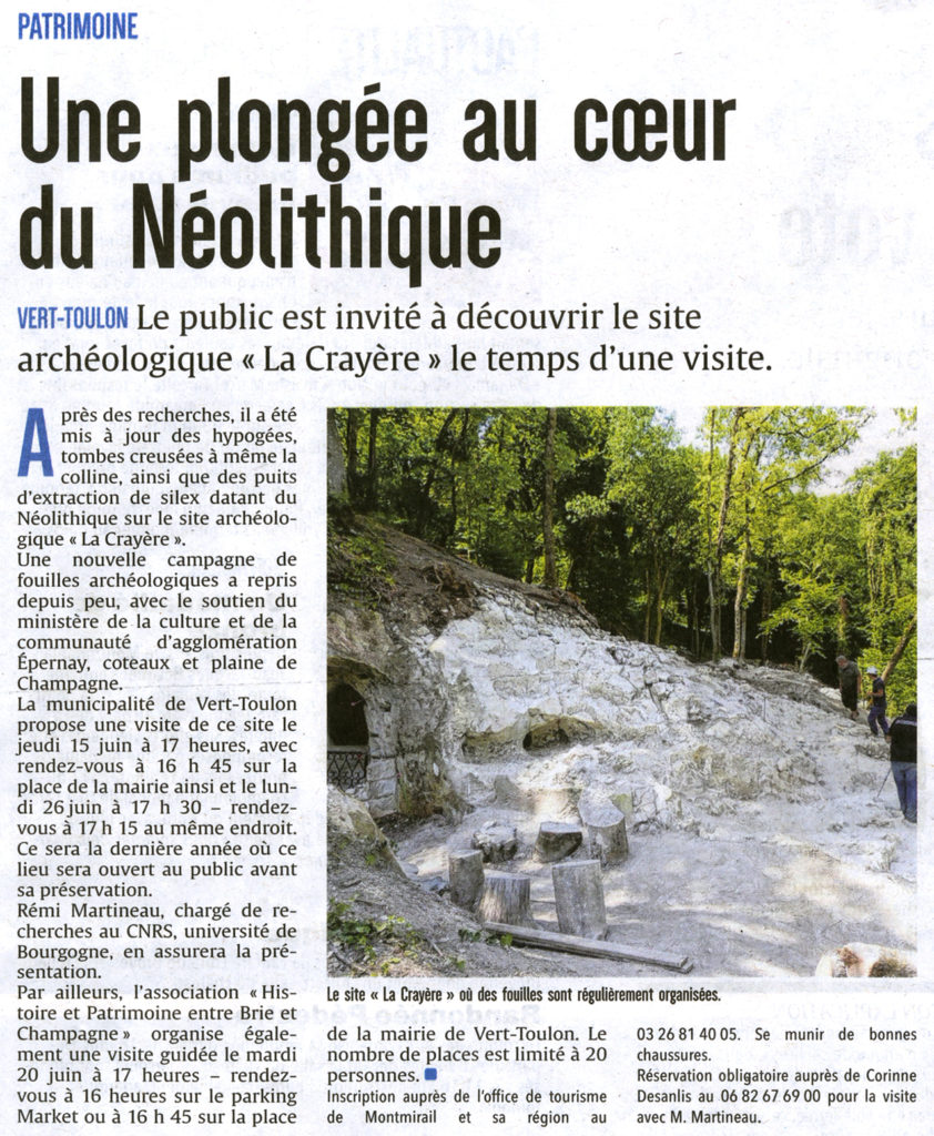 """article de presse de l'union sur les visites organisées sur le site archéologique de Vert-la-Gravelle """"La Crayère"""""""