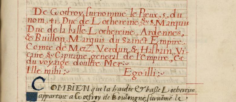 Début de la notice sur Godefroy de Bouillon.