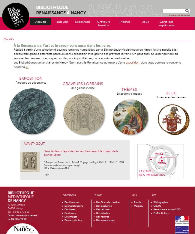 """Le site internet """"Bibliothèque Renaissance à Nancy"""""""