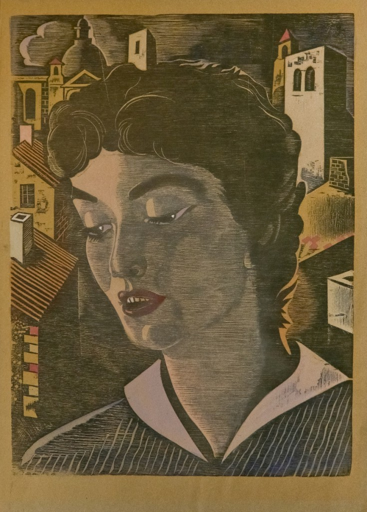 Portrait de femme. Gravure sur bois en couleurs.
