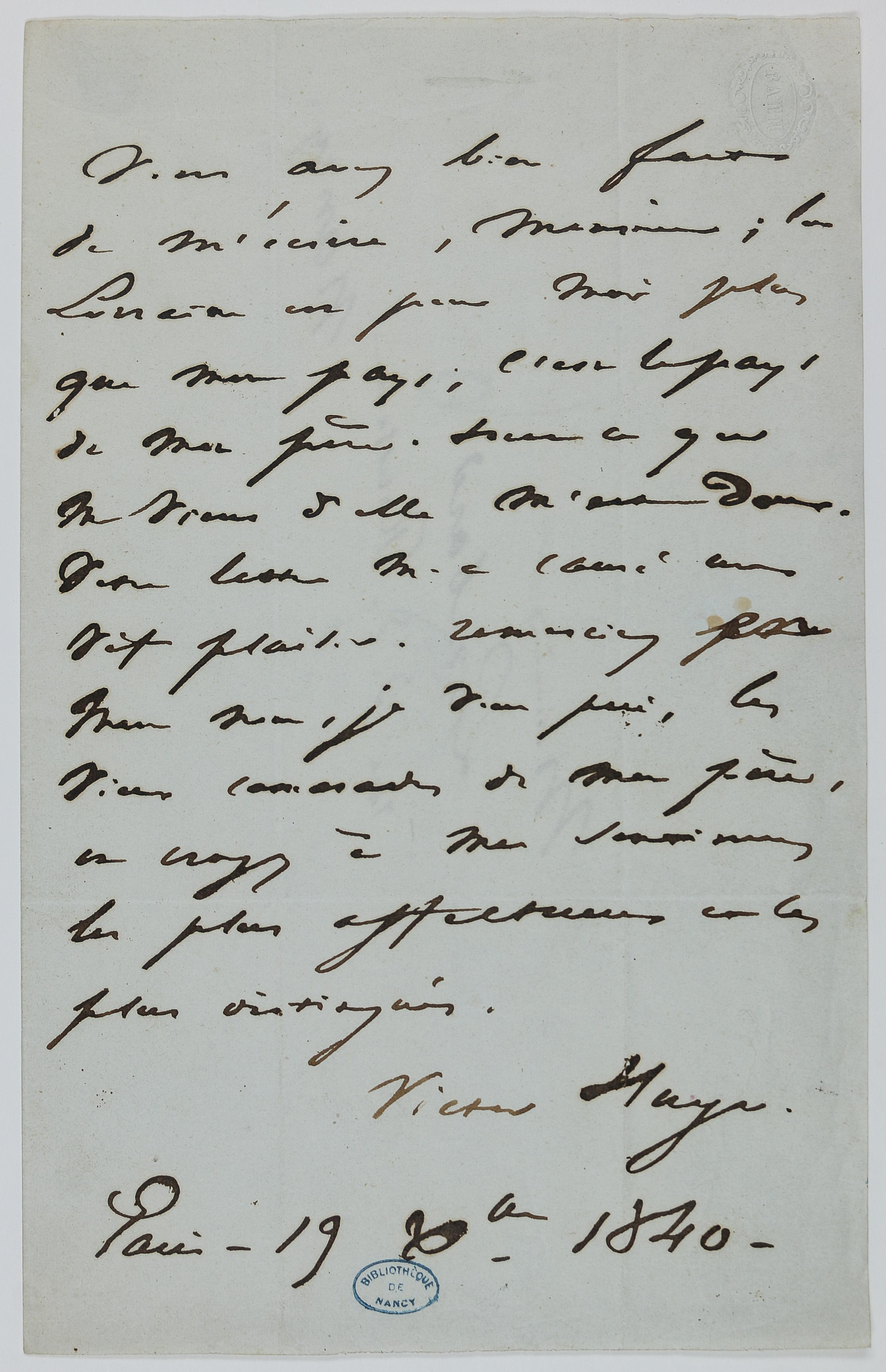 Hugo, lettre