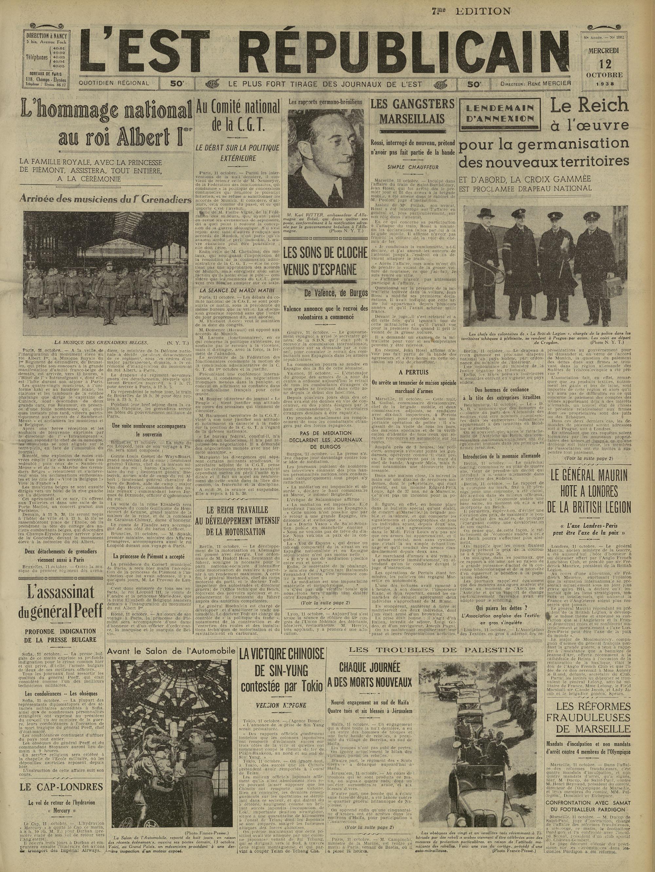Un exemple des document bientôt en ligne l'Est Républicain du mercredi 12 octobre.1938