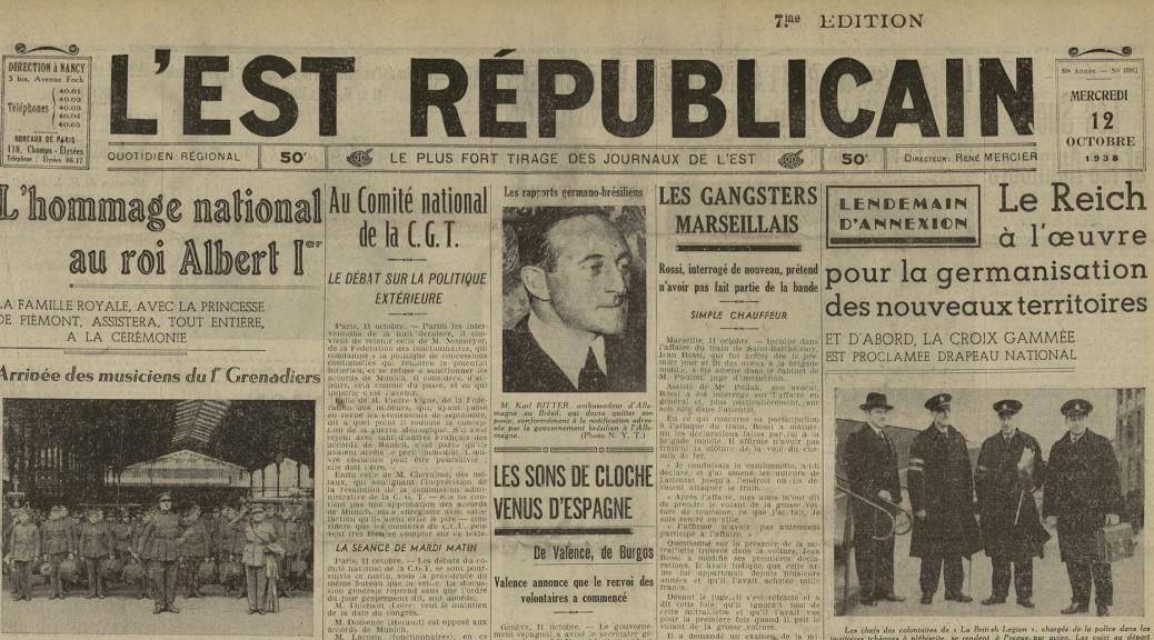 Un exemple des document bientôt en ligne l'Est Républicain du mercredi 12 octobre 1938, détail
