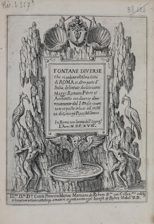 Page de titre du recueil Fontaines diverses de Rome.