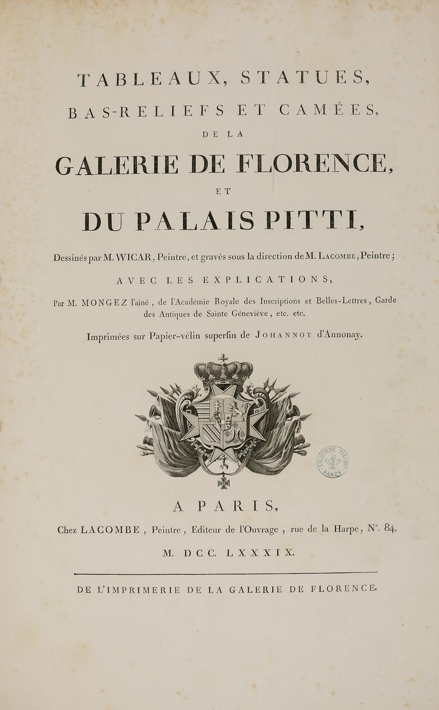 Page de titre du recueil gravé sur les œuvres de la galerie de Florence et du palais Pitti.