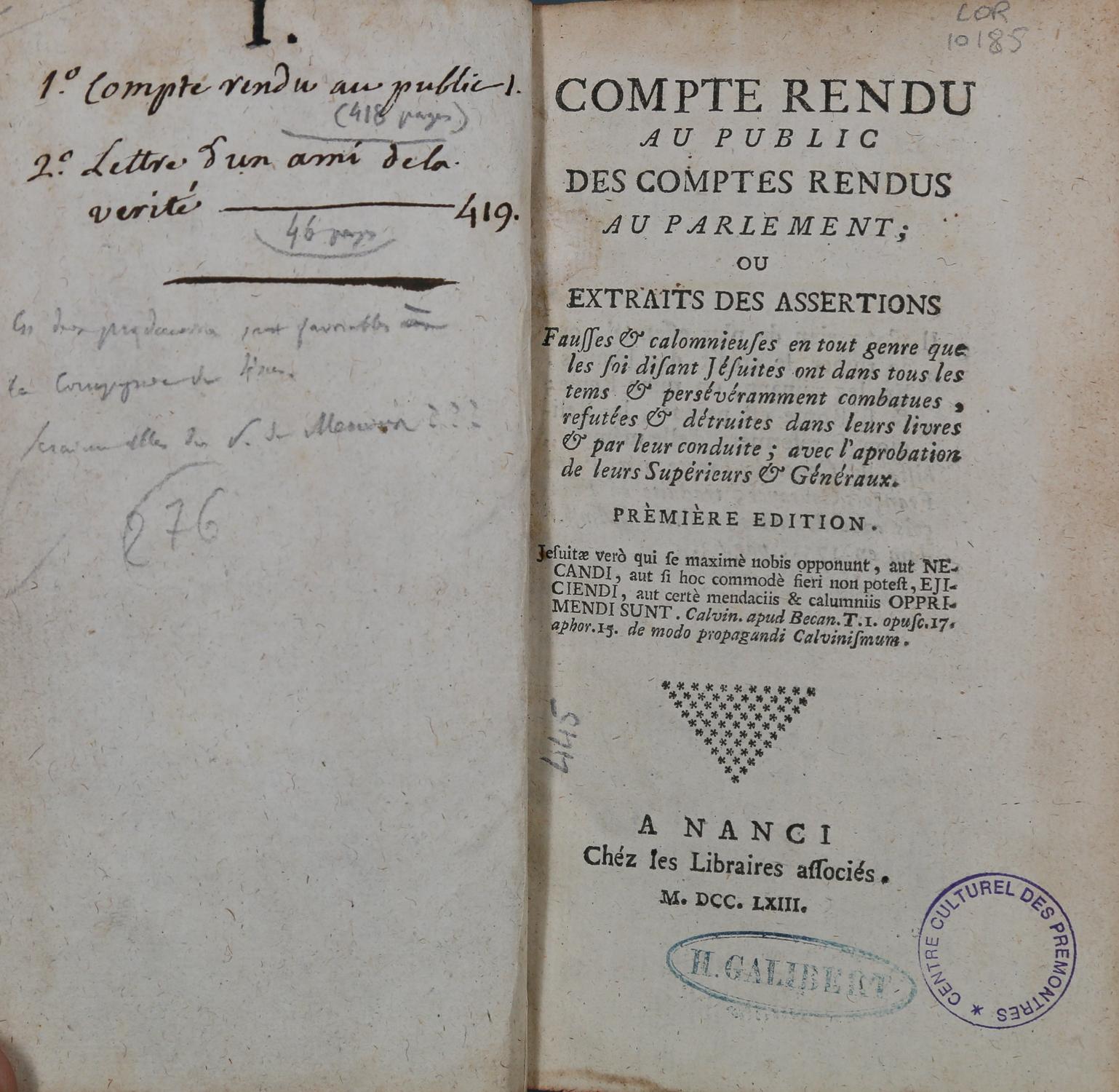 Un pamphlet anti-jésuite