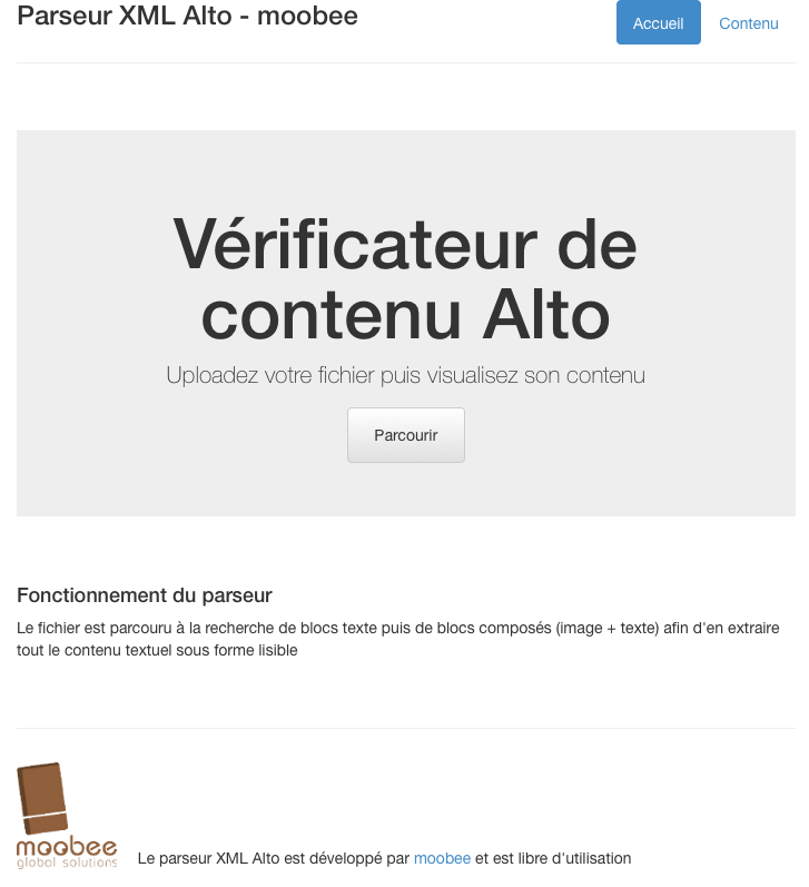 L'interface du parseur ALTO