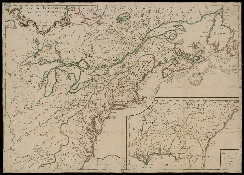 Carte des possessions Francoises et Angloises dans le Canada et Partie de la Louisiane, gravée par Chambon, 1756