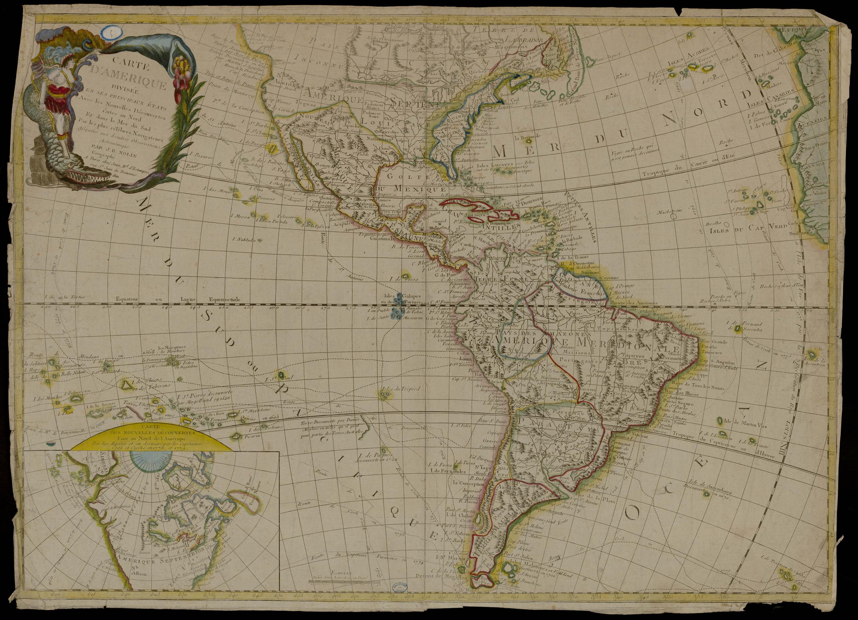 Carte d'Amérique divisée en ses principaux Etats avec les Nouvelles Découvertes faites au Nord et dans la Mer du Sud / par les célèbres Navigateurs assujeties aux dernières Observations Astronomiques