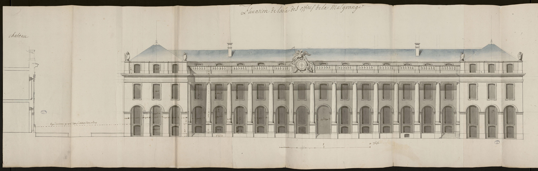 Elévation de l'aile des offices de la Malgrange [Projet pour l'élévation du château de la Malgrange] , Germain Boffrand