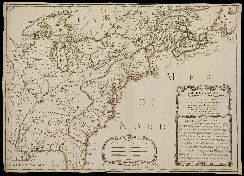Carte du Canada et de la Louisiane qui forment la Nouvelle France et des colonies Angloises ou sont représentez les Pays contestez. Dressée par Nolin, 1756