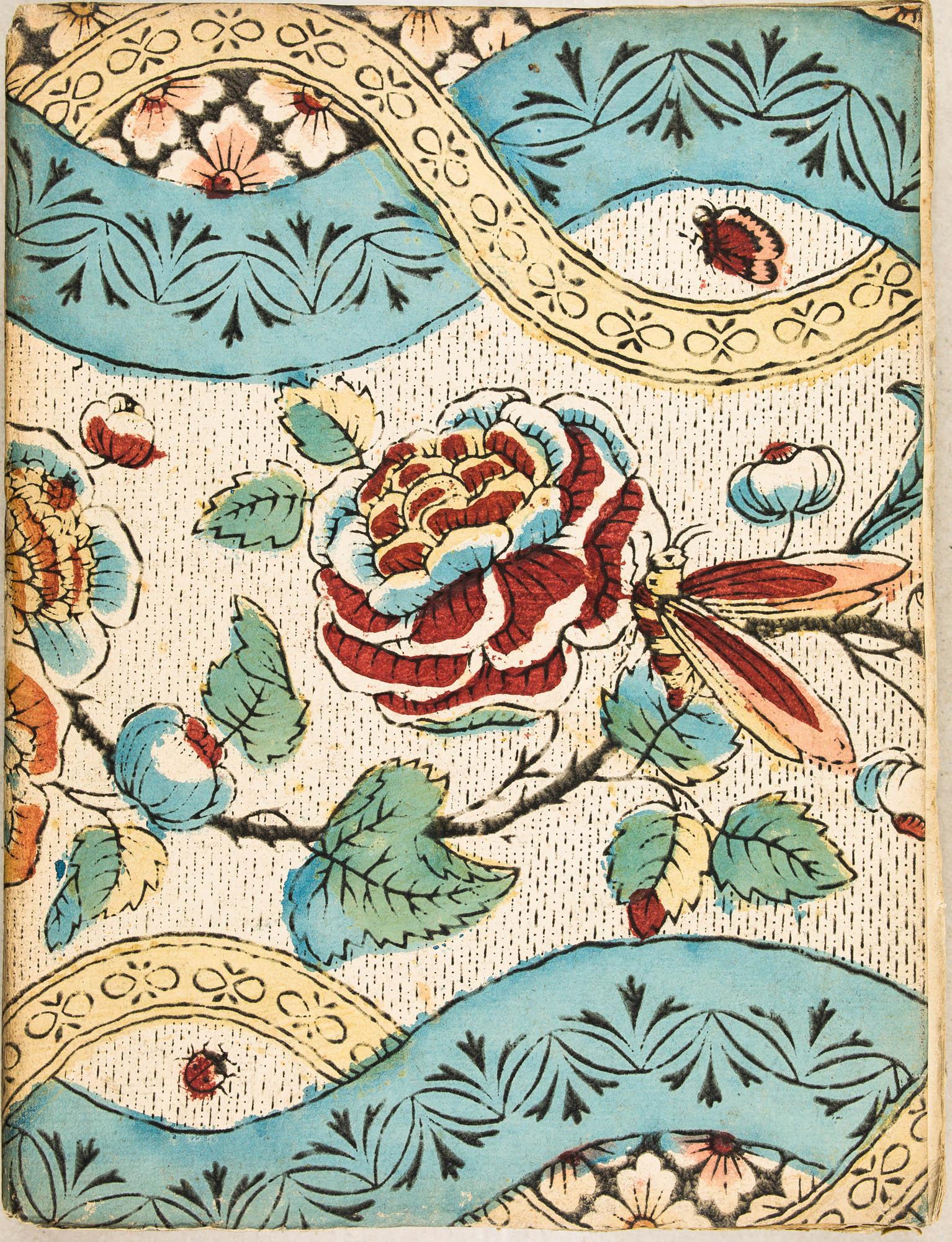 Impression en noir. Rouge, bleu, vert et jaune au pochoir. Cahier d'étudiant de l'Université de Pont-à-Mousson. XVIIIe s.