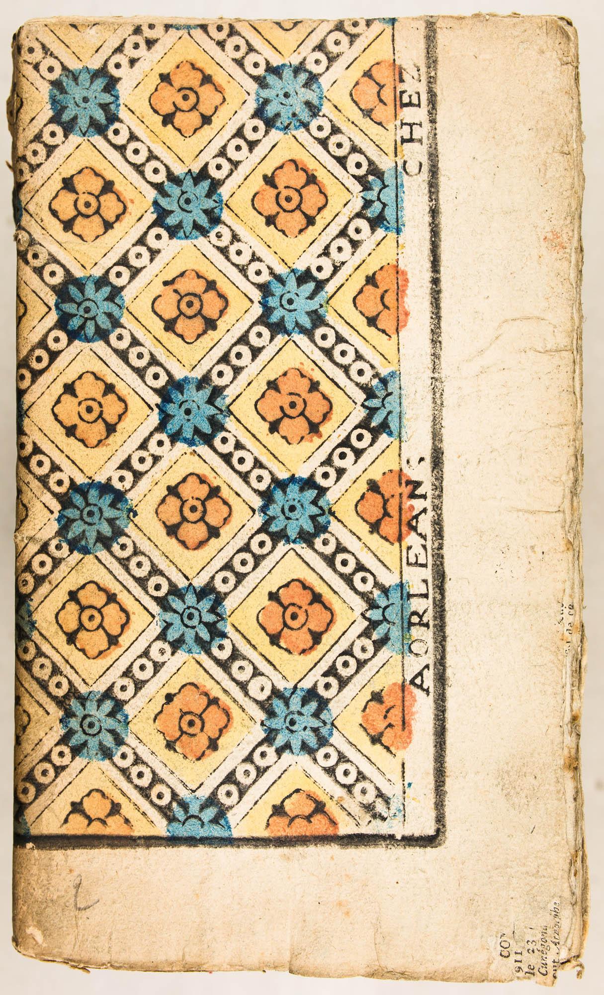 A ORLEANS CHEZ [LETOURMI]. Impression en noir, rouge jaune et bleu au patron. XVIIIe s.