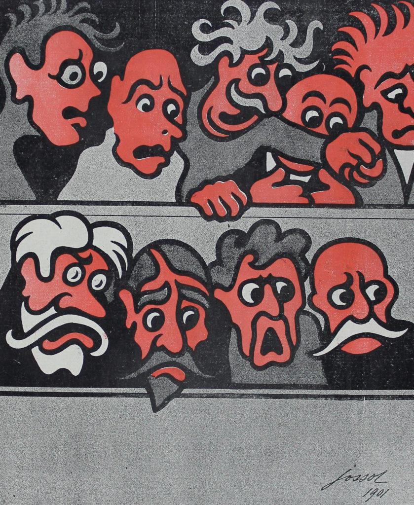 """Représentation d'un jury, illustration extraite de """"l'Assiette au Beurre"""""""