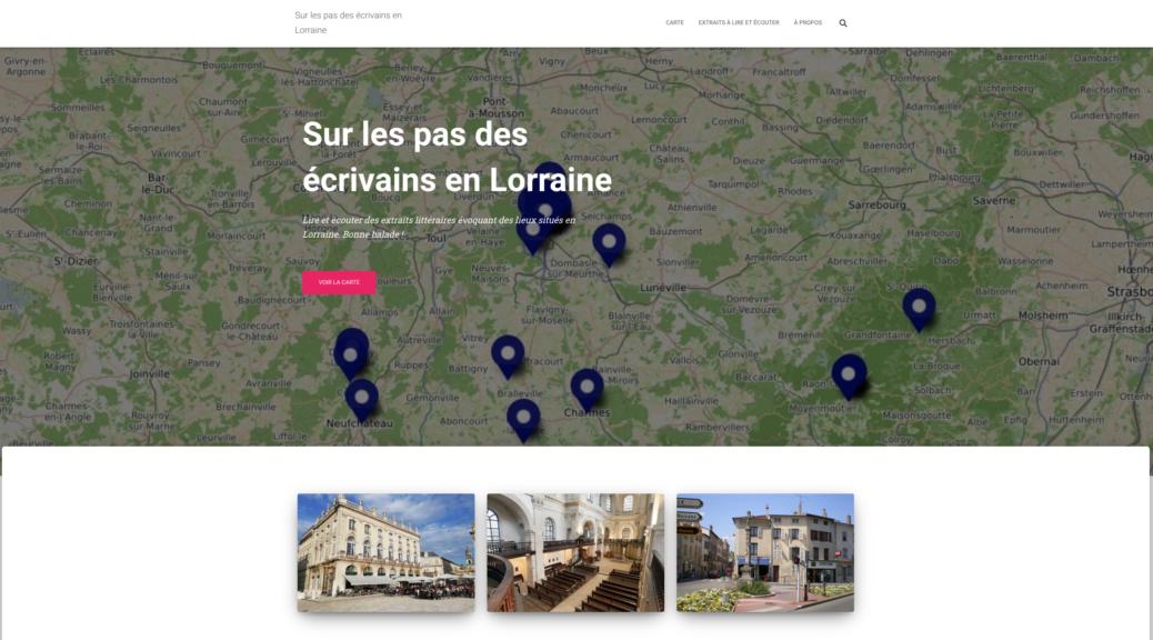 """La page d'accueil du site """"La Lorraine des écrivains"""""""