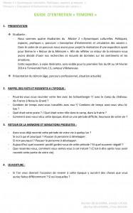Parcours CECS 2013-2014 _GUIDE D'ENTRETIEN TEMOIN
