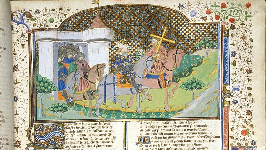 Charlemagne et Fierabras avec les reliques, illustration de la chanson de geste Fierabras.