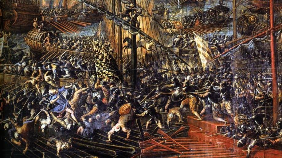 Andrea Vicentino, Bataille de Lépante (détail) 1603, Venise, Palais des doges