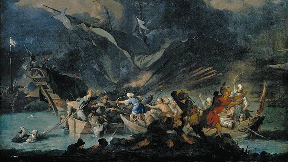 Johannes Lingelbach (v1622-1674), combat naval contre les Turcs (Lépante ?) collection privée