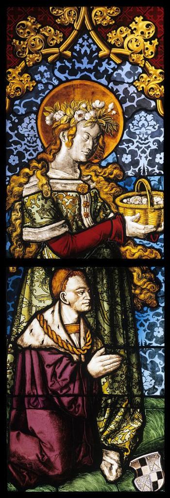 Hl. Dorothea mit Stifter, dem Grafen Franz Wolf von Zollern und Haigerloch. Karlsruhe, Badisches Landesmuseum. Freiburg, 1513 (Ropstein-Werkstatt), Badisches Landesmuseum Karlsruhe