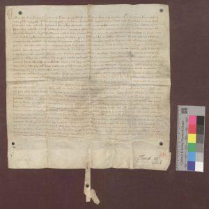 Papst Cölestin III. bestätigt dem Kloster Frauenalb dessen Freiheiten und Besitzungen (1197 April 4): Generallandesarchiv Karlsruhe 40 Nr. 48, Bild 1 Permalink: http://www.landesarchiv-bw.de/plink/?f=4-3483155-1