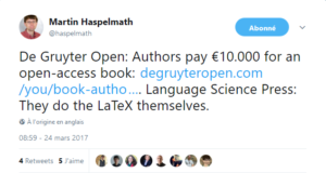 Tweet de Martin Haspelmath , fondateur de Language Science Press