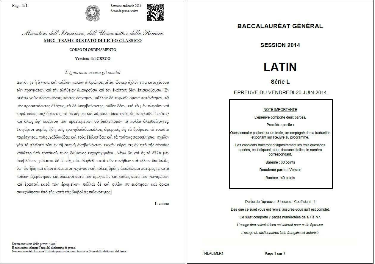 maturit bac comparaison franco italienne la question du latin. Black Bedroom Furniture Sets. Home Design Ideas