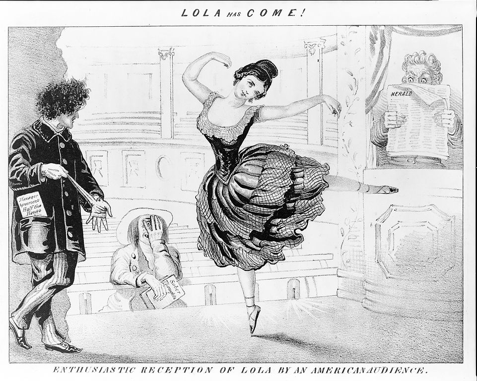 """Lola has come! Enthusiastic reception of Lola by American audience"", lithographie de David Claypoole Johnston, ca 1852, Library of Congress."