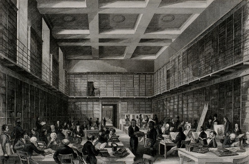 The British Museum: the reading room, with many readers. Engraving by Thomas Hosmer Shepherd after Harden Sidney Melville. London.  The British Museum - Wellcome Library