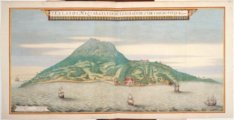 Joan Vinckeboons, L'ile de Makian vue depuis les abords de Ngofakiaha, 1670, extrait de l'Atlas Blaeu-Van der Hem.