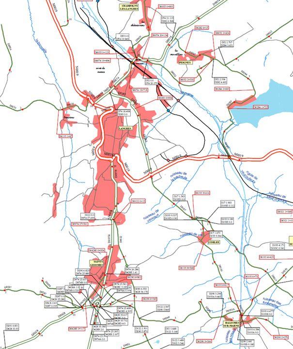 Extrait de la carte du centre de Langres carte réalisée le 04/07/12 avec ArcMap source : Conseil Général de Haute-Marne Copyright : Maxime pour la cellule SIG du conseil général de la Haute-Marne