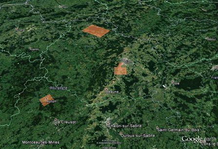 Zones des acquisitions et projets du GEOBFC de la MSH. Source : Google