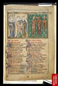 Les Trois Morts et Les Trois Vifs, Psautier de Robert de Lisle, Manuscrit Arundel 83 de la British Library, vers 1310/1320