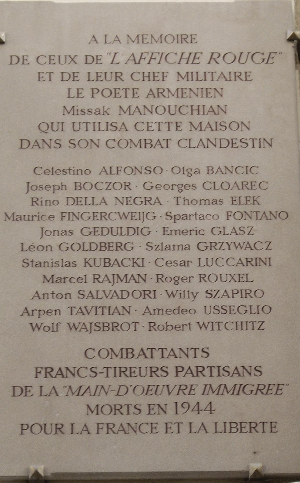 Plaque commémorative, 19 rue au Maire, Paris 3e