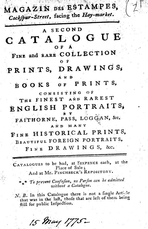 Katalog historischer Porträts und Drucke von 1775