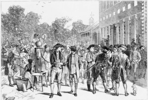 Reading the Declaration of Independence in Philadelphia, book illustration by Edwin Austin Abbey, 1876, (c) Harper's weekly, 1876 July 15, p. 573