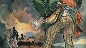 Bewaffneter Anarchist und Explosion - Auschnitt aus einer politischen Karikatur des späten 19. Jahrhunderts, Originaldruck im Besitz der Library of Congress, Washington D.C., Abbildung rechtefrei nach amerikanischer Gesetzgebung