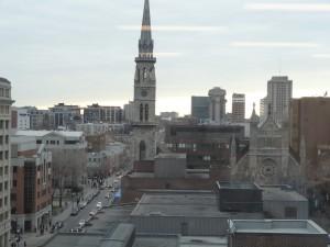 Vue du quartier latin et de l'UQAM, depuis le CIRST, avril 2013 (copyright Arnaud Saint-Martin)