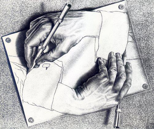 Intertextualité. Drawing Hands, de M. C. Escher, 1948 (crédits : http://www.wikiart.org/)